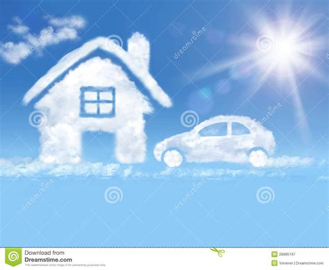 Wolken Auto by Cloud House And Car In The Blue Sky And Shining Sun Stock