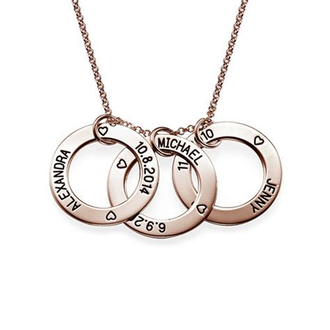 engraved family circle necklace gold plated
