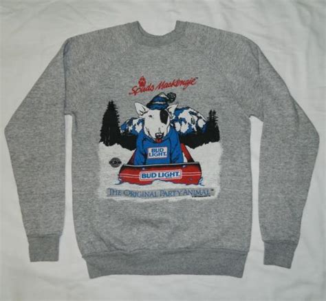 what type of was spuds mackenzie vintage spuds mackenzie 80s bud light sweatshirt t shirt