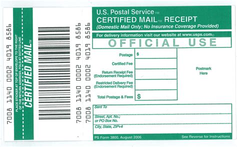 usps certified mail receipt template ucr mail services receipt for certified mail ps form 3800