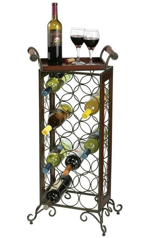 655147 Howard Miller wrought iron standing wine rack