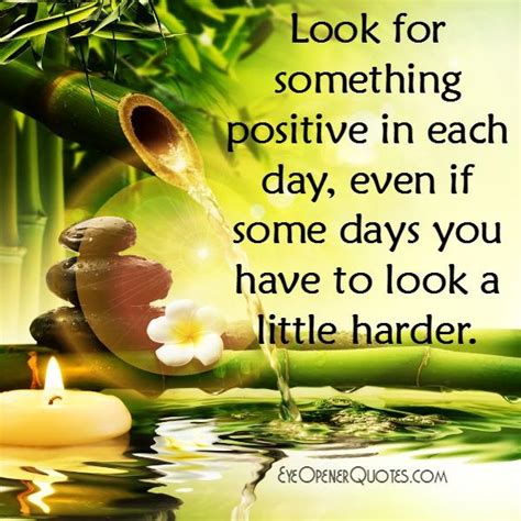 The Day Something To by Look For Something Positive In Each Day Eye Opener Quotes
