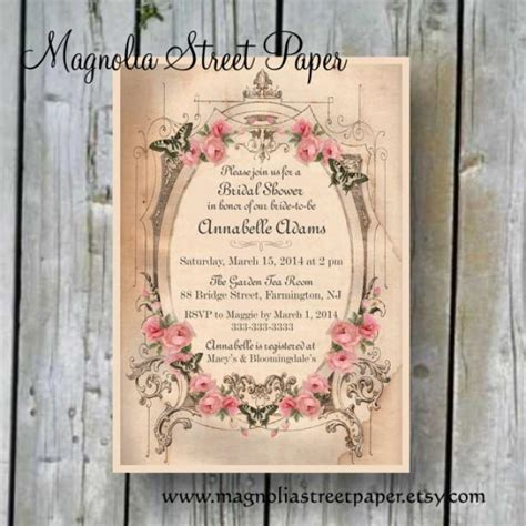 vintage invitations printable bridal shower invitation custom printable