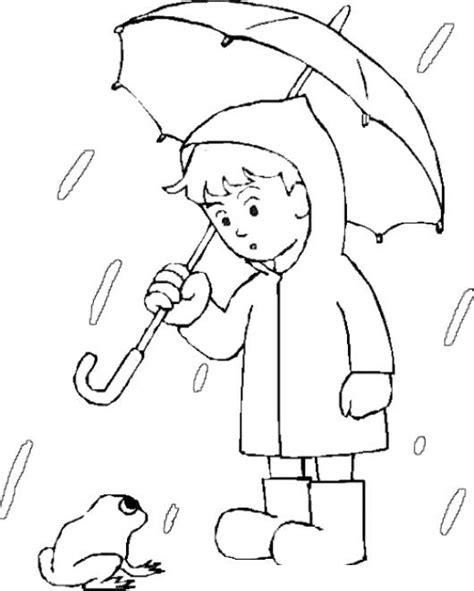 lluvia para colorear pintar im genes nino con sapo bajo la lluvia para pintar y colorear
