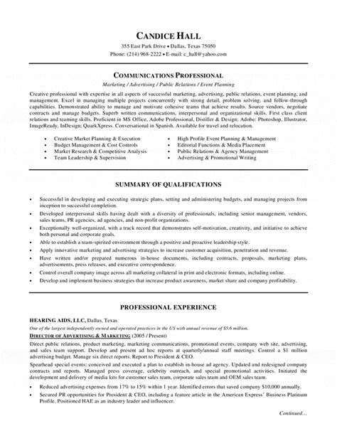 Resume Sample Professional Summary by Advertising Marketing Director Resume