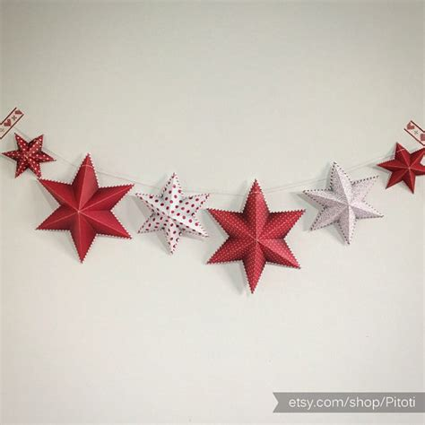 printable paper garland party decor printable party decoration diy star garland red