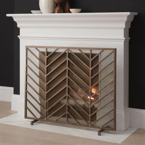 chevron brass fireplace screen crate and barrel