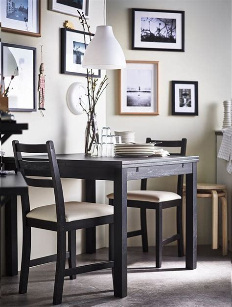 lerhamn table and 2 chairs black brown vittaryd beige