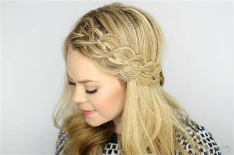 hairband style braid four strand headband braid