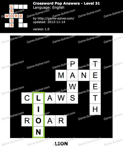 Lv 31 S crossword pop level 31 solver