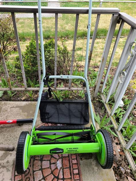greenworks   reel mower  bag  catch