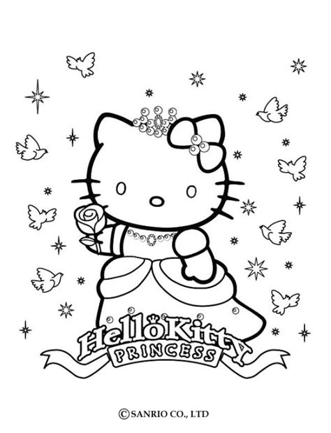 Coloriage Hello Kitty Coloriage De Princesse Kitty Happy Birthday Princess Coloring Pages Printable