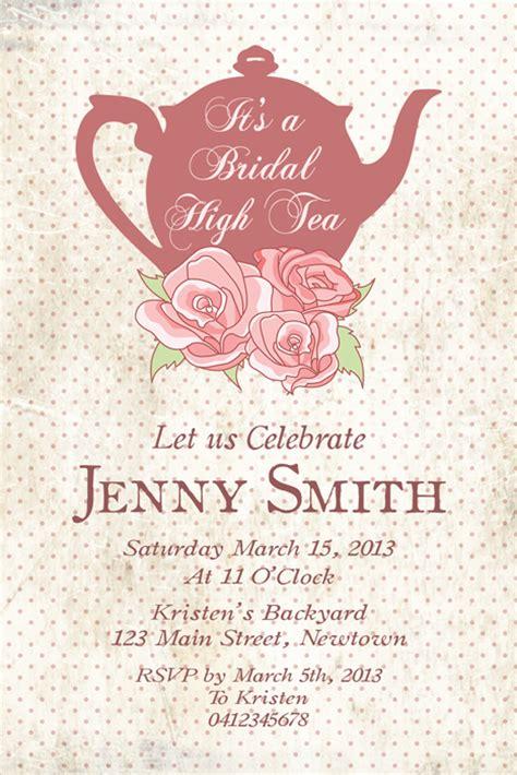 printable high tea bridal shower invitations custom bridal shower invitation printable quot high tea
