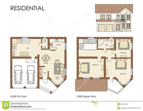Residential Home Plans Residential House Plan Stock Illustration Illustration Of Living 25641288