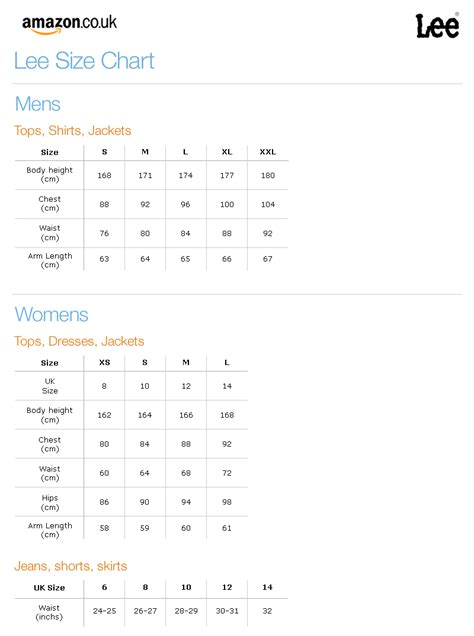 shoe size chart lee cooper lee clothing sizing information
