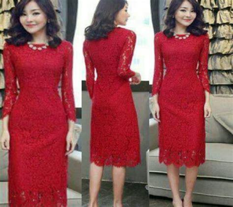 Dress Ambar Brukat Merah Mini Dress Brukat Dress Natal Dress Pesta dress brukat merah model terbaru modern murah