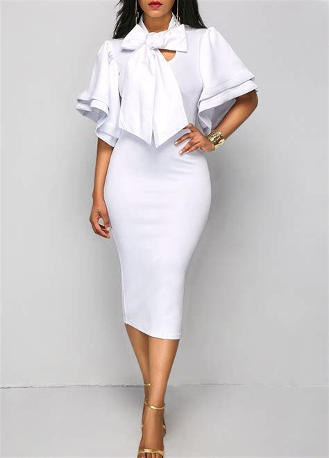 Sleeve Tie Neck Dress tie neck flare sleeve white sheath dress rosewe