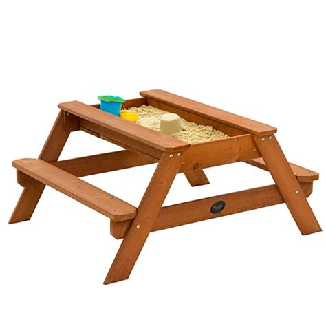 pit picnic table plum wooden picnic table and sand pit outdoor play