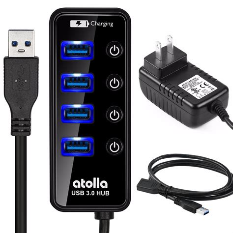 Usb Hub Power atolla usb 3 0 hub with external power adapter powered switch splitter port usb3 0 hab