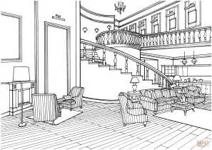 house design coloring pages classic decor large living room with stairs coloring page
