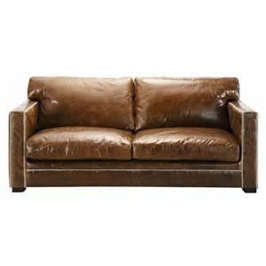 canap 233 3 4 places en cuir marron dandy maisons du monde