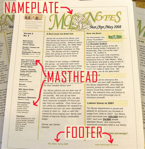 magazine layout masthead masthead as used in newsletters papers and magazines