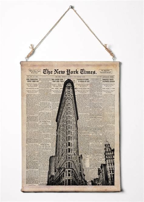 how to hang a canvas flat iron building on new york times paper nyc wall art