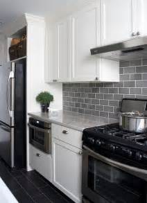 Gray Backsplash Kitchen Gray Subway Tiles Transitional Kitchen Wentworth Studio