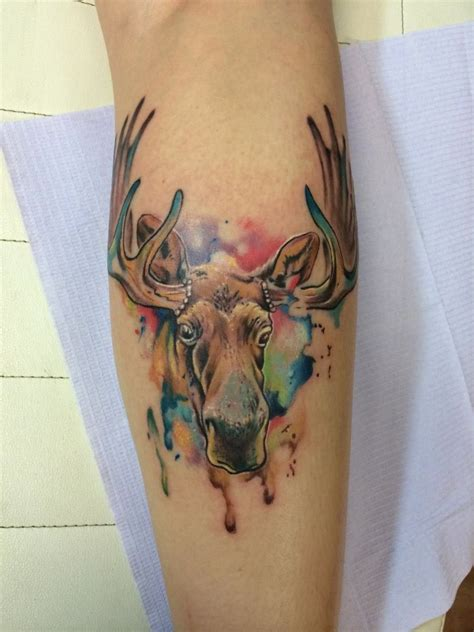 watercolor tattoos texas watercolor moose moses veliz dallas tx