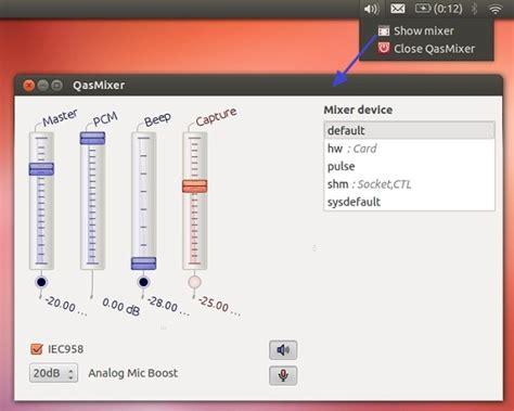 ubuntu reset alsa qasmixer adds a system tray icon and a mixer for alsa