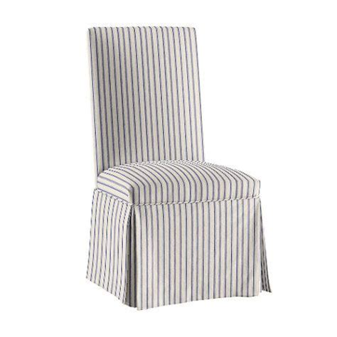 vintage ticking stripe navy upholstered parsons chair