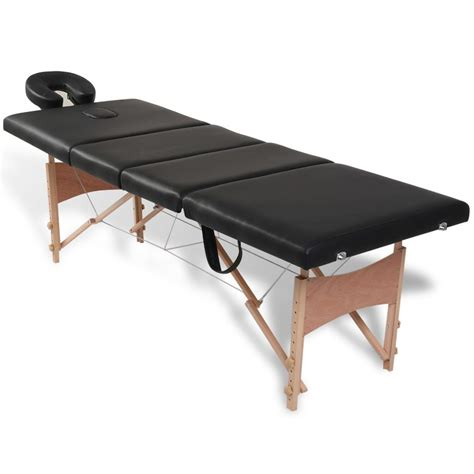 massage bench black foldable massage table 4 zones with wooden frame