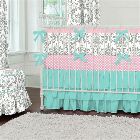 Pink And White Damask Crib Bedding Such A Sweet Color Pallet For A Nursery I Adore Grey With A Touch Of Pink And Teal Gray And