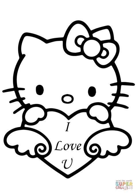 free printable coloring pages that say i love you hello kitty with quot i love you quot heart coloring page free