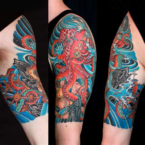 japanese octopus tattoo designs traditional octopus and diver half sleeve by braden
