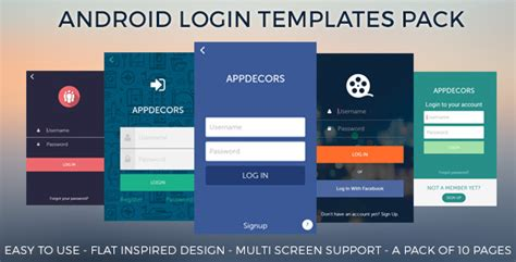 xml templates for android android login templates pack by appdecors codecanyon