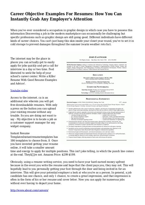 resume objective exles any career objective exles for resumes how you can instantly grab any