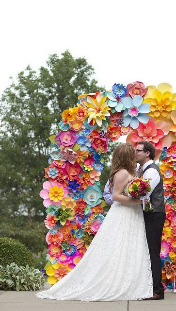 Paper flower arbor, arch, backdrop for wedding ceremony