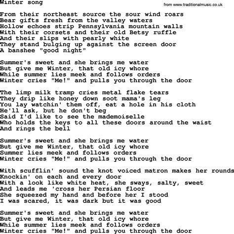 song lyrics in bruce springsteen song winter song lyrics