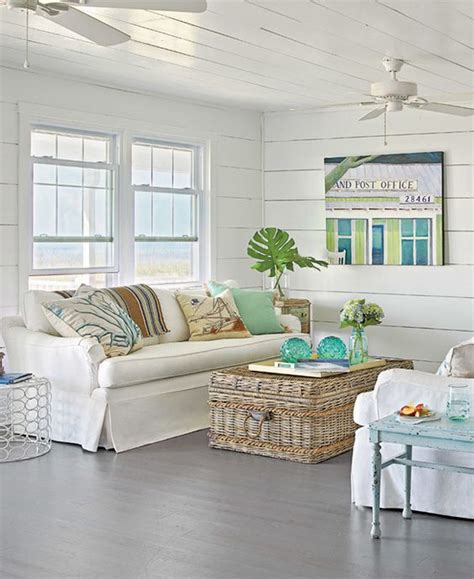Coastal Living Coffee Tables Chic Coastal Living Cottage Tour Slipcovered Sofa Shore Woven Rattan Coffee Table