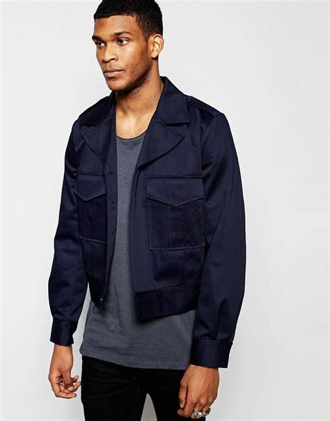 Jaket Crop Navy Jaket Hoodie Wanita Sweater Hoodie Diskon asos cropped jacket in navy in blue for lyst