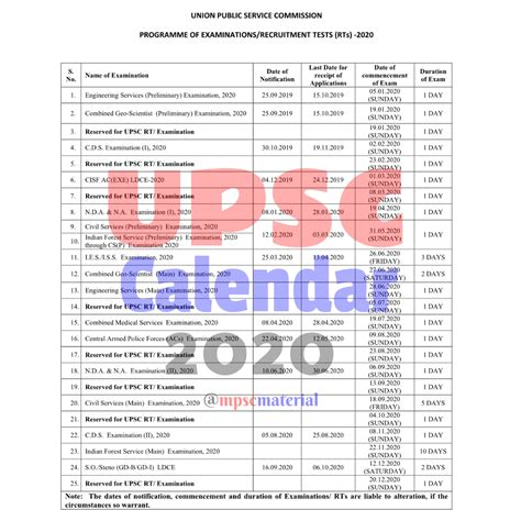 upsc calendar    upsc civil services exam