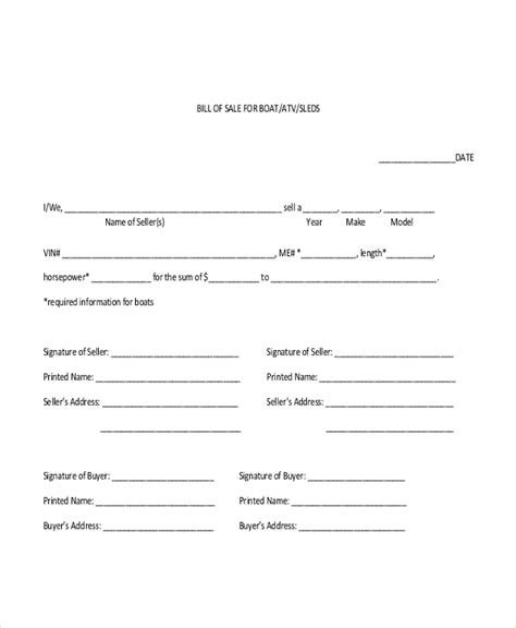 generic bill of sale sle generic bill of sale form 10 free documents in pdf