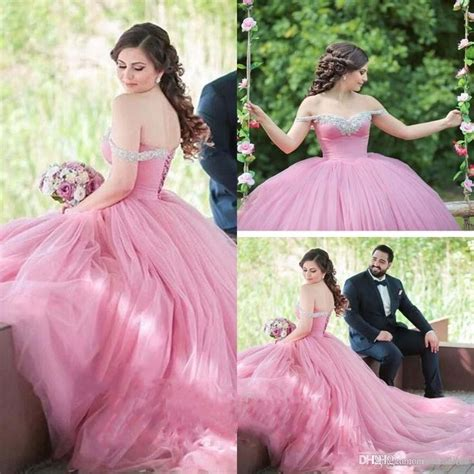 30618 Pink Sweet Offshoulder Dress 2017 new arabic quinceanera gown dresses sweetheart shoulder beaded pink tulle