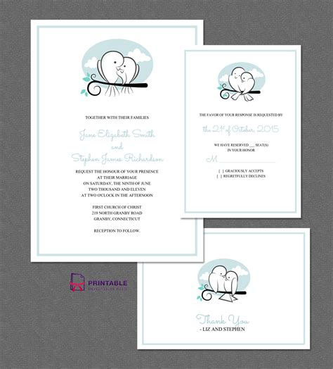 printable invitation kits com sweet birds wedding invitation set wedding invitation