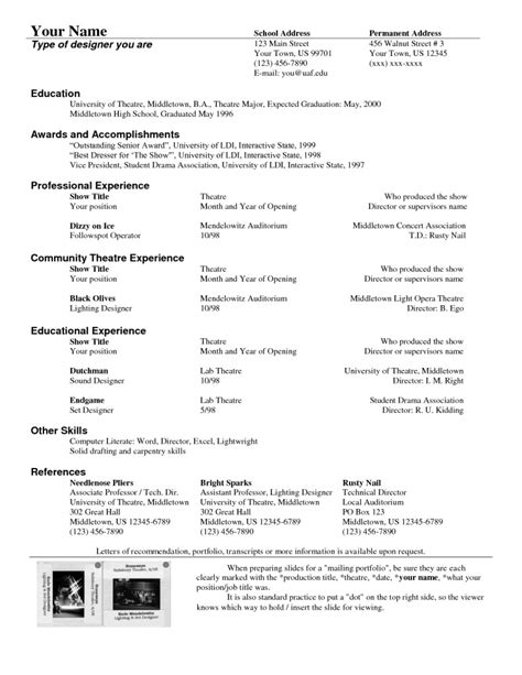 technical experience resume sle theater resume sle 28 images theatre assistant sle