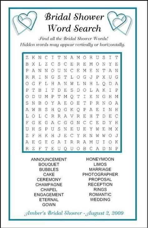 Bridal Shower Word Search by Bridal Shower Word Search Favor 100 Designs Ebay