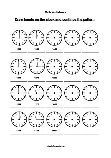 pattern continuation worksheet clock quarter pattern 5 pages planet psyd