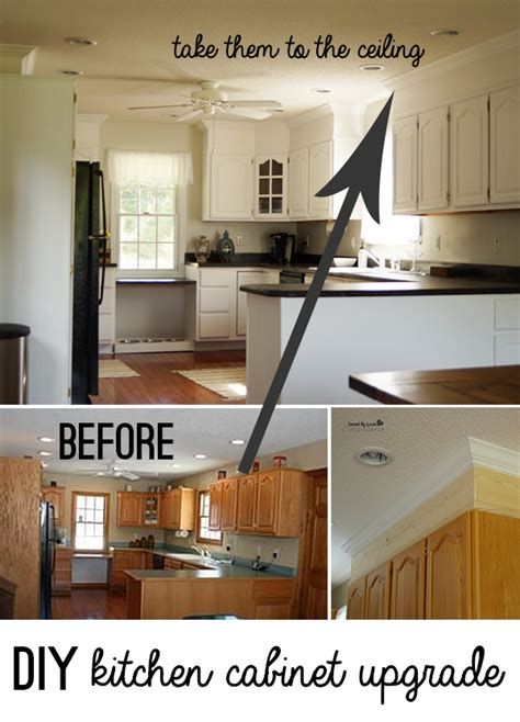 Kitchen Cabinet Finishing by Diy Kitchen Cabinet Upgrade With Paint And Crown Molding