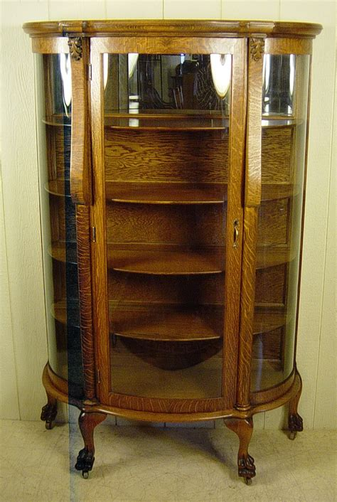 Antique China Cabinet Curved Glass   Home Design Ideas